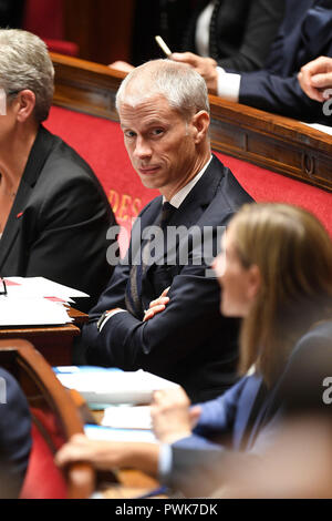 Paris. 16th Oct, 2018. Photo taken on Oct. 16, 2018 shows the newly appointed Minister of Culture Franck Riester (C) in Paris, France. French President Emmanuel Macron on Tuesday named Christophe Castaner, one of his main backers, to supervise interior affairs and replace Gerard Collomb, in his latest cabinet reshuffle. Credit: Jack Chan/Xinhua/Alamy Live News - Stock Photo