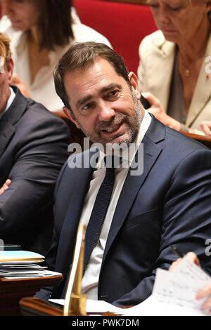 Paris. 16th Oct, 2018. Photo taken on Oct. 16, 2018 shows the newly appointed Interior Minister Christophe Castaner in Paris, France. French President Emmanuel Macron on Tuesday named Christophe Castaner, one of his main backers, to supervise interior affairs and replace Gerard Collomb, in his latest cabinet reshuffle. Credit: Jack Chan/Xinhua/Alamy Live News - Stock Photo