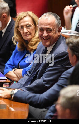 Paris. 16th Oct, 2018. Photo taken on Oct. 16, 2018 shows the newly appointed Minister of Agriculture and Food Didier Guillaume (C) in Paris, France. French President Emmanuel Macron on Tuesday named Christophe Castaner, one of his main backers, to supervise interior affairs and replace Gerard Collomb, in his latest cabinet reshuffle. Credit: Jack Chan/Xinhua/Alamy Live News - Stock Photo