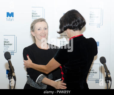 London, UK. 16th Oct 2018. Anna Burns winner of the Man Booker for fiction Prize 2018 for the novel Milkman at the photo call after winning the prize at the  Guildhall London UK 16th October 2018. Burns is the first winner of the prize from Northern Ireland. The book is set in the Troubles. Credit: Prixpics/Alamy Live News - Stock Photo
