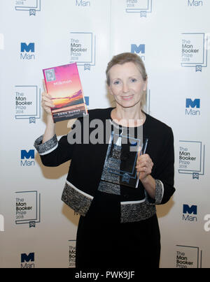 London, UK. 16th Oct 2018. Anna Burns winner of the Man Booker for fiction Prize 2018 for the novel Milkman at the photo call after winning the prize at the Guildhall London UK 16th October 2018. Burns is the first winner of the prize from Northern Ireland. The book is set in Belfast in the Troubles. Credit: Prixpics/Alamy Live News - Stock Photo