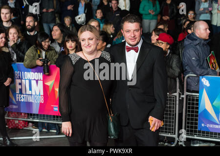 London, UK. 16th October 2018. Daisy May Cooper (L) attends the UK film premiere of 'Suspiria' at Cineworld, Leicester Square, during the 62nd London Film Festival Headline Gala. Credit: Wiktor Szymanowicz/Alamy Live News - Stock Photo