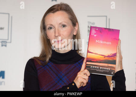 London, UK. 14th Oct, 2018. Novelist Anna Burns poses with her work 'Milkman' during a photocall at the Royal Festival Hall in London, Britain on Oct. 14, 2018. Novelist Anna Burns from Northern Ireland won the Man Booker Prize for fiction for her work 'Milkman', it was announced on Tuesday evening. Credit: Ray Tang/Xinhua/Alamy Live News - Stock Photo
