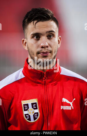 Novi Sad, Serbia. 16th Oct 2018. UEFA U21s European Football Championships: Serbia v Armenia, Novi Sad, Serbia.Luka Adzic of Serbia Credit: Nikola Krstic/Alamy Live News - Stock Photo