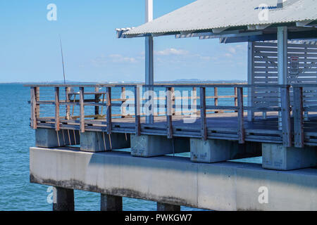 Under-covered area at the end of Woody Point Jetty in Redcliffe, Australia - Stock Photo