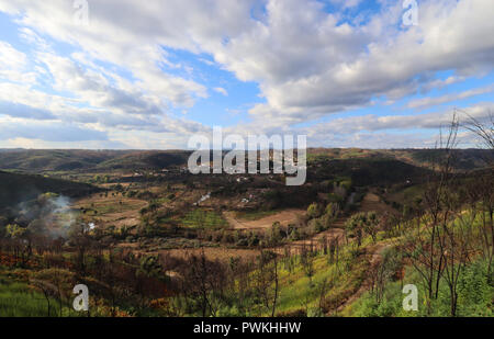 A late afternoon capture looking towards the village of Barril de Alva, Central Portugal. - Stock Photo