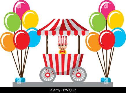 salesman balloons booth carnival fun fair vector illustration - Stock Photo
