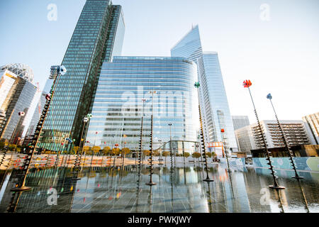 PARIS, FRANCE - September 02, 2018: Morning view on the basin by Takis in La Defense financial district in Paris - Stock Photo