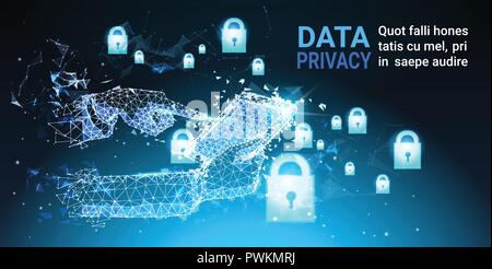 human hand tablet padlock Data protection privacy concept. GDPR. Cyber security network background. shielding personal information . internet technology networking connection - Stock Photo