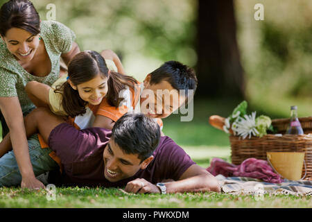 Family of four playing during a picnic in the park. - Stock Photo