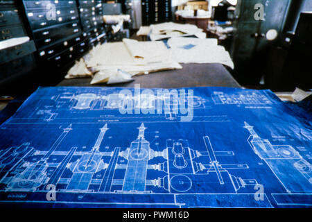 Battersea Power Station - 4th Floor Office and Blueprint March 1988 - Stock Photo