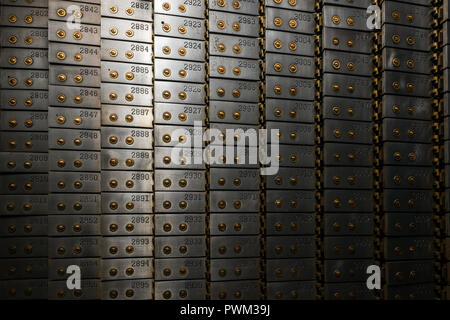 Bank vault in the basement of the Gary State Bank building - Stock Photo