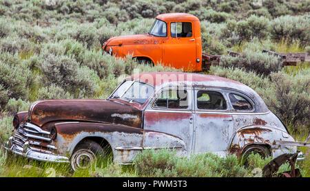 Vintage car near Kamloops British Columbia Canada - Stock Photo