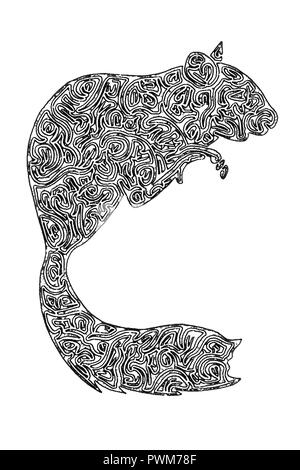 Illustration of dormouse , black and white, drawing, maze lines - Stock Photo