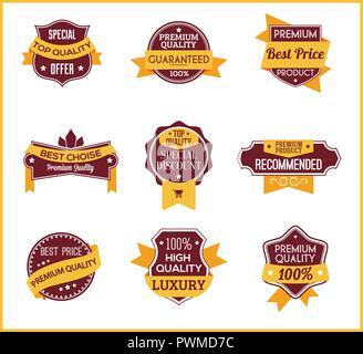 Yellow marketing labels (set of 4) - Stock Photo