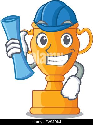 Architect cartoon trophy cup with star on cyan - Stock Photo