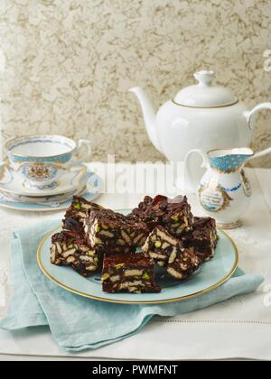 Rich Tea Chocolate Fridge Cake - Stock Photo
