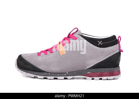 Short trekking mountain shoes isolated on white background - Stock Photo