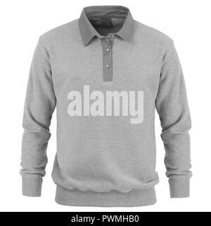 Gray  long sleeve t-shirt isolated on white background - Stock Photo