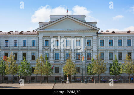 Vilnius Museum Of Genocide Victims, front of the building used by Soviet and Nazi authorities in 1940s and 1950s to imprison and execute Lithuanians. - Stock Photo