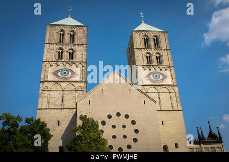 St Paulus Dom, Muenster Cathedral, Muenster, Germany with eyes by artist Pascale Feitner - Stock Photo