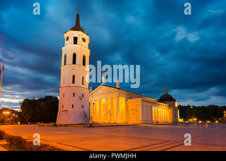 Vilnius Lithuania Cathedral Square, view at night of Vilnius Cathedral and the Belfry bell tower in the city's main square, Baltic States. - Stock Photo