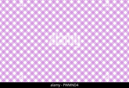 Diagonal Gingham-like table cloth with lavender and white checks, symmetrical overlapping stripes in a single solid color - Stock Photo