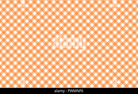Diagonal Gingham-like table cloth with pumpkin orange and white checks, symmetrical overlapping stripes in a single solid color - Stock Photo