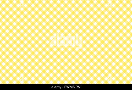 Diagonal Gingham-like table cloth with banana yellow and white checks, symmetrical overlapping stripes in a single solid color - Stock Photo