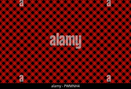 Diagonal Gingham-like pattern with red on black checks, seamless design of symmetrical overlapping stripes in a single solid color - Stock Photo