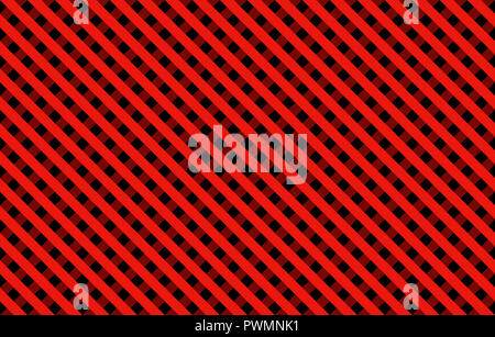 Diagonal Gingham-like pattern with dominant red and black lines, seamless design of symmetrical overlapping stripes in a single solid color - Stock Photo