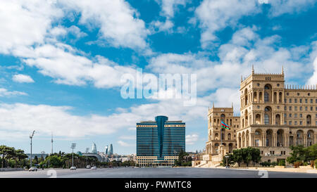 Azerbaijan, Baku, October 09, 2018.  Azadlig Square in front of the Government House - Stock Photo