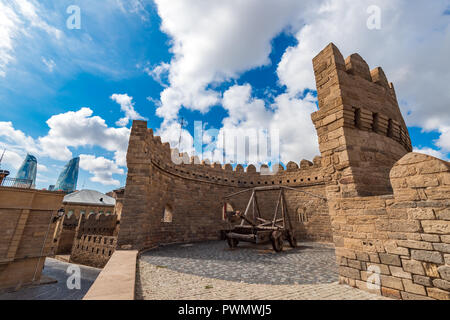 Ancient gun in the historic center of Icheri Sheher, Baku city, Azerbaijan - Stock Photo