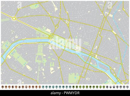 paris city map with pin pointers and infrastructure icons. - Stock Photo