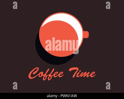Coffee time. Cup of coffee top view. Flat design concept. Vector illustration - Stock Photo