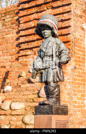 Warsaw, Poland - November 23, 2017: Monument to the Little Insurgent commemorating child soldiers who took part in the Warsaw Uprising of 1944. - Stock Photo