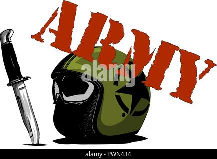 vector green helmet with strips on a white background - Stock Photo