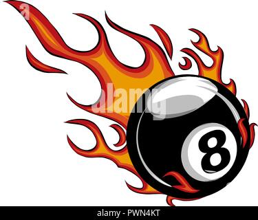Flaming Billiards Eight Ball Vector Cartoon burning with Fire Flames - Stock Photo