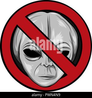 warning signs for aliens. vector illustration face - Stock Photo