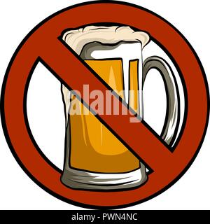 Vector No Beer Sign Isolated illustration with white background - Stock Photo