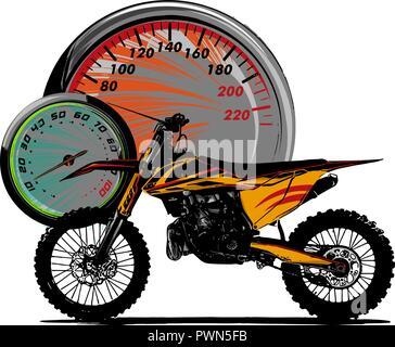 illustration motocross rider ride the motocross bike - Stock Photo