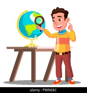 Student Looking Through A Magnifying Glass Globe, Geography Lesson Vector. Isolated Illustration - Stock Photo