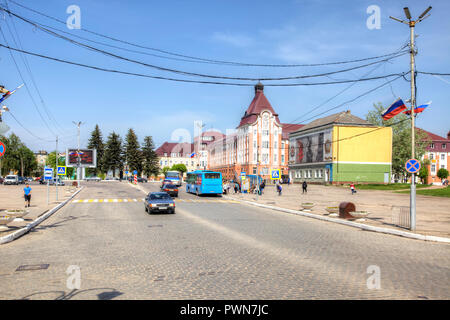 GUSEV, RUSSIA - May 03.2018: Kaliningrad region. Victory Square. Central square of the city - Stock Photo