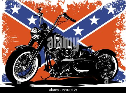 vector Custom Motorbike with flag in background - Stock Photo