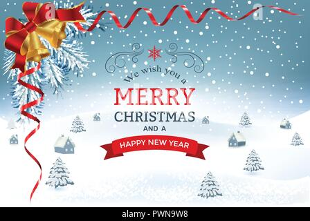 New year and Christmas greetings design. Winter holidays landscape. Background with snowflakes christmas tree and houses. - Stock Photo