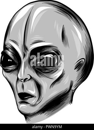 illustration Alien face vector in white background - Stock Photo