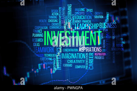 Finance and investment background, business word cloud over trade chart screen - Stock Photo