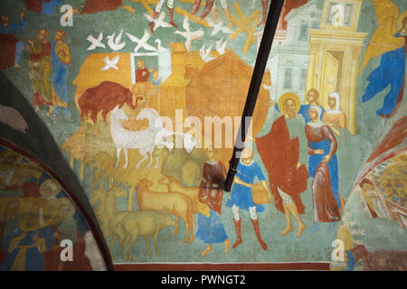 Noah's Ark depicted in the fresco by Russian painters Dmitry Plekhanov and Fyodor Ignatyev dated from 1700 in the north gallery (papert) in the Church of Saint John the Baptist at Tolchkovo in Yaroslavl, Russia. - Stock Photo