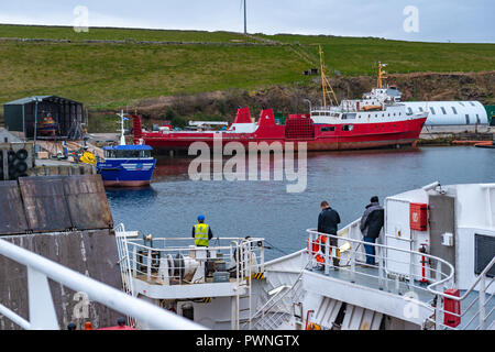 View from a ferry onto the waterfront of Stromness, Orkney Islands, Scotland, Uk - Stock Photo