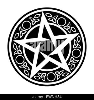 Black Wiccan Circular Ornament, Vector Illustration on white - Stock Photo